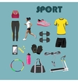 fitness isolated icons set sport equipment vector image