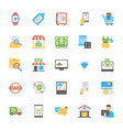 flat shopping and commerce icons vector image