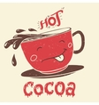 funny cup cocoa cartoon character vector image vector image