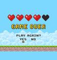 game over pixel art arcade screen vector image