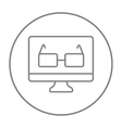 Glasses on computer monitor line icon vector image vector image