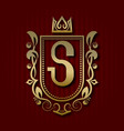 golden royal coat of arms with s monogram vector image vector image