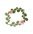 green sprigs with red ribbon frame natural design vector image vector image