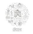 Hand drawn sketch circus icons vector image vector image