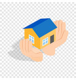 hands holding a house isometric icon vector image vector image