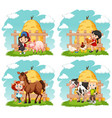 happy children and farm animals on farm vector image vector image