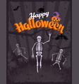 happy halloween vintage poster bat and skeleton vector image