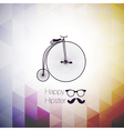 hipster mustag retro bicycle triangle background vector image