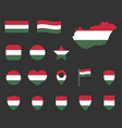 hungary flag icons set symbols flag of vector image