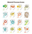 mental process icons collection vector image vector image