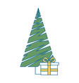 merry christmas tree with gifts vector image vector image