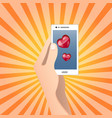 mobile heart symbol love or health concept vector image
