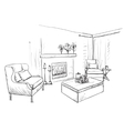 Modern interior room sketch Hand drawn fireplace vector image vector image