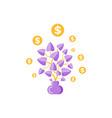 money plant in pot golden coins dollars vector image vector image