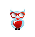 Pretty owl with a red heart and sunglasses vector image vector image