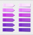 realistic purple sticky notes collection arrow vector image