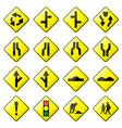road sign glossy set glossy road sign vector image vector image