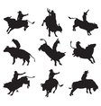 Rodeo on bulls silhouette vector image vector image