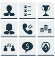 set of 9 hr icons includes tournament manager vector image vector image