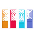 set of chinese door in flat style design vector image vector image