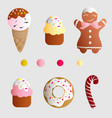 set with ice lolly cookies donuts with cream vector image