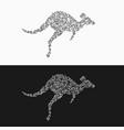 silhouette of a jumping kangaroo from decorative vector image