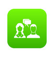 speech bubbles with two faces icon digital green vector image