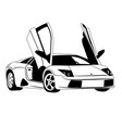 super car line art outline car vector image