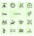 tourism icons vector image vector image