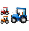 tractors in three different colors vector image vector image