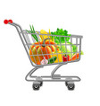 vegetables in supermarket cart isolated vector image vector image