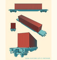 wagon platform with a container vector image vector image