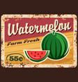 watermelon metal plate rusty farm fruits price vector image vector image