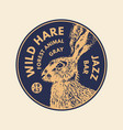 wild animals stickers in vintage style gray hare vector image vector image