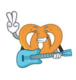 with guitar pretzel mascot cartoon style vector image vector image