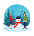 young couple with snowman in snowscape vector image