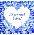 Many blue and cyan hearts frame vector image