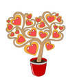 a love tree in a red pot with hearts on branches vector image vector image