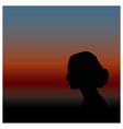 a womans silhouette with tied hair vector image vector image