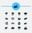 air icons set with rainbow light snow shower vector image