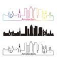 Amsterdam V2 skyline linear style with rainbow vector image vector image