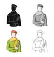 artistprofessions single icon in cartoon style vector image vector image