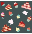 background with cakes and desserts vector image