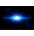 Blue Lens Flare glowing light effect vector image vector image