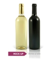 bottles of white and red wine vector image vector image