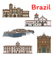 brazilian travel landmark icon of south america vector image