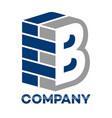 brick wall and letter b logo vector image vector image