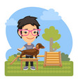 cartoon cynologist with dachshund vector image