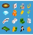 Casino Isometric Icons Set vector image