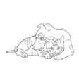 cat and dog line art 14 vector image vector image